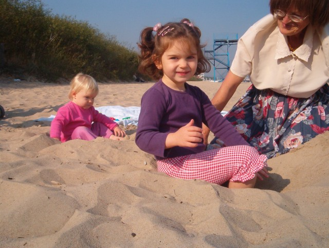 Babcia na plaży