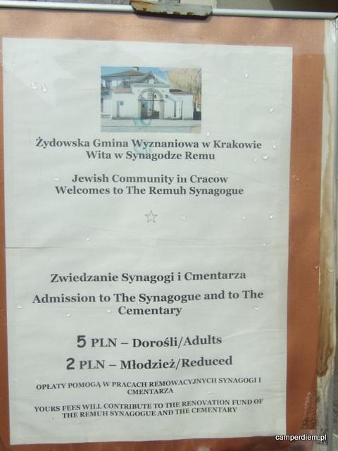 Synagoga Remuh, cennik