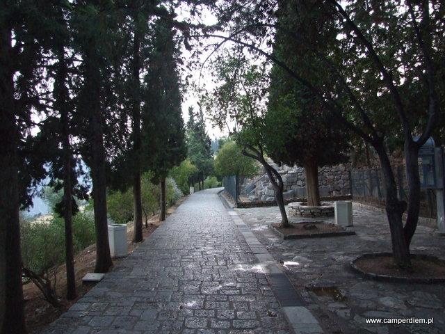 wspaniały chodnik w Delfach poprowadzony z miasteczka do wykopalisk
